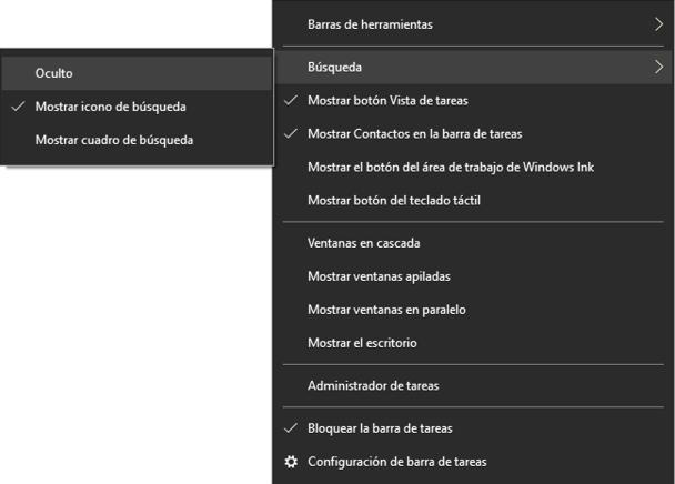 barra herramientas de windows