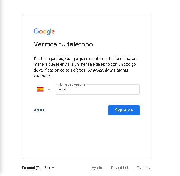verificar cuenta de gmail utilizando numero de telefono