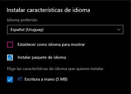 instalar el paquete de idioma desde los servidores de Windows