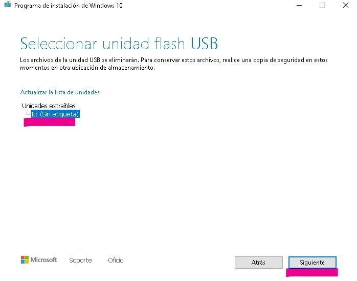 seleccionar unidad flash para disco usb arrancable