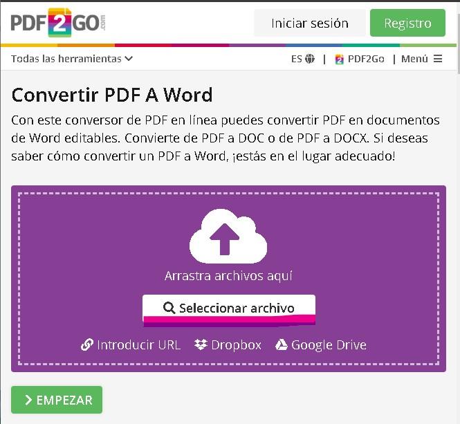 Pasar un archivo PDF a Word con PDF2GO