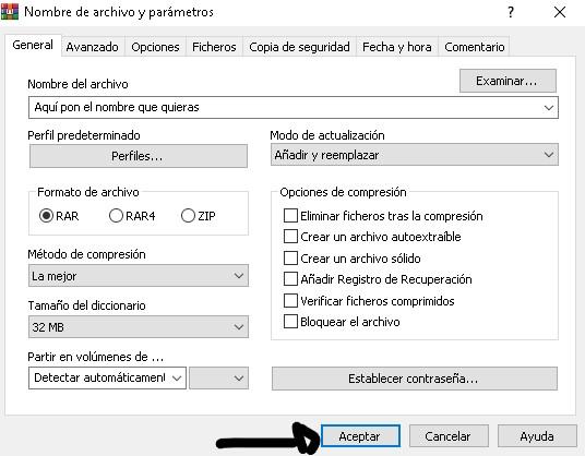 Cómo comprimir un archivo un archivo con WinRAR.